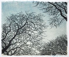 "Tree No. 12 by Andrea Starkey - woodcut - The background is made by brushing thin layers of ink onto a sheet of plexiglass and making 3-4 impressions to get the gradient. The tree branches were printed on top of that in black ink on 20"" x 16"" handmade Japanese paper."