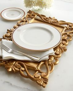 Golden Carved-Wood Placemat by NM EXCLUSIVE at Horchow. #HORCHOWHOLIDAY14