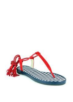 Braska ☆ blue-stripe & red sandals