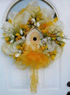 Spring deco mesh bird house wreath