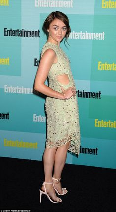 Ladylike: Maisie Williams turned heads in a pretty green dress at Entertainment Weekly's Annual Comic-Con Party, held at FLOAT at The Hard Rock Hotel on Saturday