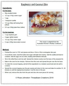 Raspberry and Coconut Slice - Threadbare Creations Raspberry Coconut Slice, Coconut Jam, Tray Bake Recipes, Baking Recipes, Dessert Recipes, Jam Cake Recipe, Biscuit Recipe, Grandfather Quotes, Australian Recipes