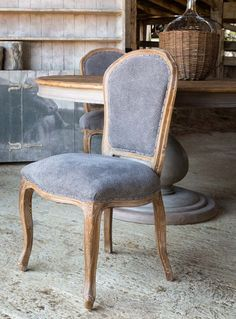 French Country Dining Chairs, Gray Dining Chairs, French Chairs, Dining Chair Set, Patterned Dining Chairs, Dining Table, Rustic Round Table, Parker House, Elegant Dining