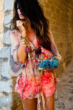 bohemian love - colourful eclectic chic #fashion