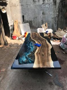 GIANT coffee table epoxy table river table ocean table handmade beautiful table / dining table – Eckschreibtisch selber bauen – New Epoxy Epoxy Wood Table, Epoxy Resin Table, Wood Table Design, Resin Furniture, Diy Resin Crafts, Traditional Artwork, Resin Art, Wood Art, Wood Projects