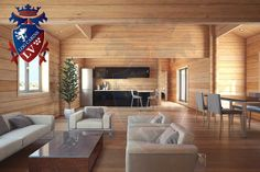 6.7m x 18m 4 bedroom twinskin residential cabin glulam by www.logcabins.lv  quality,design and price!