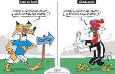 Charge do Dum (Zona do Agrião) sobre o fim das invencibilidades de Atlético e Cruzeiro (20/04/2017) #Charge #Dum #Futebol #Atlético #AtléticoMineiro #Mineiro #Galo #Cruzeiro #Libertadores #CopaDoBrasil #SãoPaulo #Libertad #HojeEmDia