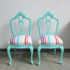 35 Awesome Concepts For Funky Chairs, Old Chairs, Colorful Chairs, Dinning Chairs, Vintage Chairs, Living Room Chairs, My Furniture, Upcycled Furniture, Painted Furniture