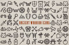 This is a set of 72 unique handcrafted ancient and medieval warrior themed vector icons. Great for making logos, buttons, web elements, patterns, art prints, cards, branding, or anything you can come up with! Customize the line weight and color in any vector software, and also comes with transparent PNG files.  Includes vikings, ancient romans, samurai, and more with shields, axes, swords, bow and arrow, weapons, flags, animals, huts, feathers, food, beer, hammer, arrows, spears, and tons…