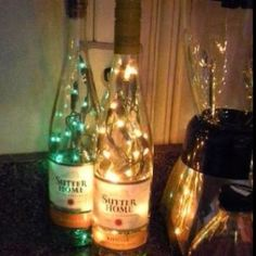 Wine Bottles With Battery Operated Lights DIY