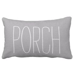 Modern rustic light gray burlap Porch script Lumbar Pillow - script gifts template templates diy customize personalize special