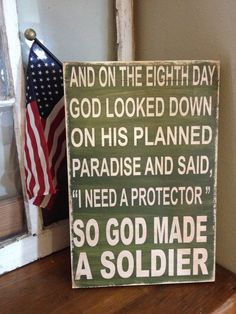 So God Made A Soldier - Marine - Sailor - Seaman - you choose your branch - 12x18 wood military sign