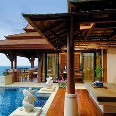 The luxury Pimalai Resort and Spa, Koh Lanta, Thailand.  I stayed in a hut for three weeks when I was there. Sixty cents a night.  No charge for the family of ducks living under it.
