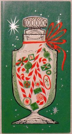 Vintage Christmas Card. Apothecary jar of Christmas candy.
