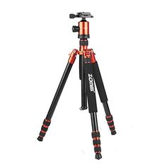 Introducing Zomei Z888 Compact Travel Professional Aluminium Tripod Monopod with Ball Head for All Canon Sony Nikon Samsung Panasonic Olympus Kodak Fuji Cameras and Video Camera Orange. Great product and follow us for more updates!