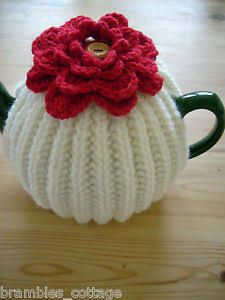 Hand Knitted ~ Tea Cosy with Deep Red Crochet Flower Crochet Tea Cosy Free Pattern, Tea Cosy Pattern, Crochet Cozy, Crochet Crafts, Yarn Crafts, Free Crochet, Crochet Granny, Hand Crochet, Knitting Patterns