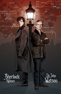 MY FAVORITE ARTIST FOR DOCTOR WHO AND OTHER BRITISH ICONS!! Sherlock  Holmes & Watson  17 x 11 Digital Print by DadManCult, $15.99