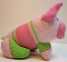 PINK PEARL upcycled handmade striped sock toy by garishrubbish
