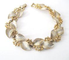 Vintage Golden Leaf and Flower Bracelet by LovesVintageDelights, $18.00