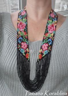 Necklace Beaded necklace Colorful necklace Flowers necklace Long necklace Multicolor necklace Beaded jewelry Birthday gift flowers гердан