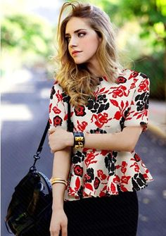 Women's round neck short sleeve floral printing falbala hem slim