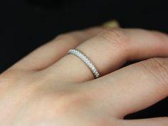 Kierra Silver Thin French Pave Diamond Halfway Eternity Band $375