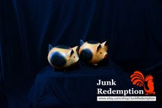 Pig wood carving by JunkRedemption on Etsy