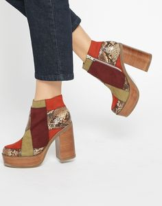 Image 1 ofASOS EXPRESSION Co-ord Leather Mix 70s Ankle - Boots- vegan!