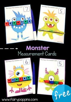 Monster Measurement Cards! What a fun way to work on math with kindergarten and first grade kids! Perfect for a STEM boxes or STEM centers! #STEMboxes #kidsSTEM