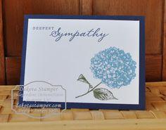 Dakota Stamper: Because I Care sympathy card - Offset hydrangea