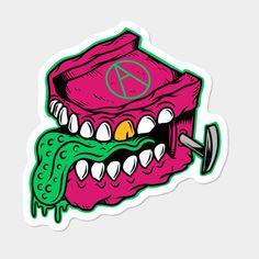 Chattering Teeth Monster Designed By Joe Tamponi Sticker By Joetamponi Design By Humans Skateboard Logo, Skateboard Design, Cool Laptop Stickers, Sibling Tattoos, Vintage Skateboards, Graffiti Characters, Monster Design, Street Art Graffiti, Doodle Art