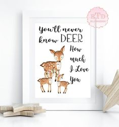 Woodland Nursery Art Deer Fawn Woodland Boho Print You'll Never Know Dear How Much I Love You Bohemian Garden Floral Nursery Baby Girl Room Playroom Decor
