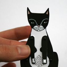 kitty cat moveable paper doll tuxedo by JordanGraceOwens