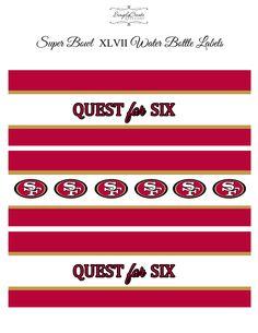 Super Bowl water bottle labels #49ers