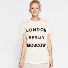 brand new with tags ZARA Trafaluc Mix Fabric Tee with pretty lace sleeves and words on front: LONDON BERLIN MOSCOW. Super cute and feminine top, soft fabric, great with skinny jeans or leggings