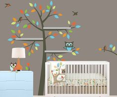 vinyl wall tree decal shelves crib Nursery color leaf by MRIDECALS, $68.00