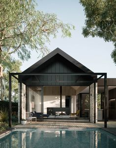 Presenting the rear view of the Ruum Pitch House designed by Chamberlain Architects. With its impressive cathedral ceiling, Pitch House is… Barbacoa, Contemporary Architecture, Interior Architecture, Architecture Life, Interior Design, Contemporary Homes, Design Your Dream House, House Design, Architect Design House