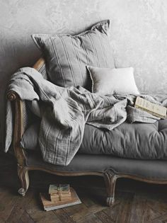 Grey daybed - would probably throw some colorful pillows on it, and get some color on the wall for contrast - But it just looks super comfy Sofa Couch, Interiores Design, Shades Of Grey, Interior Inspiration, Colour Inspiration, Daily Inspiration, Gray Color, Sweet Home, Traditional Decorating