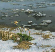 Владимир Юрьевич Жданов. Дыхание весны. На полянке, у тропинки Пробиваются травинки. С бугорка ручей бежит. А под ёлкой снег лежит.  Борис Заходер