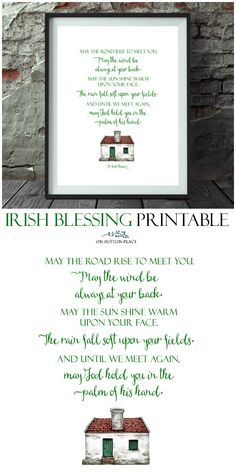 Irish Blessing Free Printables for St. Patrick's Day: 3 Designs! A set of digital downloads featuring 3 Irish blessings. Use for DIY wall art, cards, banners & more!  #stpatricksday #irishblessing #freeprintables