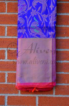 Midnight Blue Kuppadam Pure Pattu Saree with Floral/Parrots Weave all over South Silk Sarees, Indian Silk Sarees, Indian Beauty Saree, Kuppadam Pattu Sarees, Ethnic Sarees, Saris, Engagement Saree, Rangoli Designs With Dots, Saree Trends