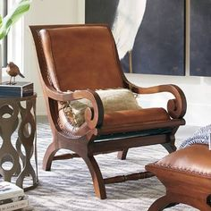 Curl up with a good book: the timeless form and endless comfort of the leather-and-teak Augusto chair and matching ottoman combine to make a work of art that Loft Furniture, Retro Furniture, Furniture Styles, Cheap Furniture, Discount Furniture, Furniture Design, Furniture Logo, Furniture Outlet, Colonial Furniture