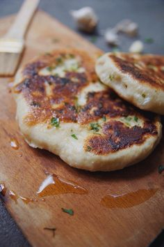 simple flatbread with garlic + cilantro