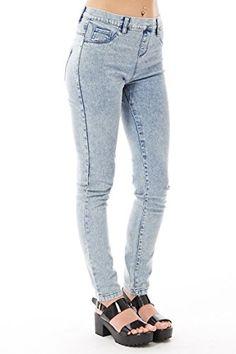 c224464a857 Ladies Womens Jeans Light Blue Acid Wash Full Length Cotton Rich Jeggings Stretchy  Denim Jeans .Sizes 10-18 (12 (EU 40))  Amazon.co.uk  Clothing