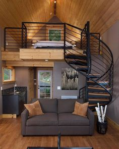 Which loft is your favourite? 😍 4 or - Image Olympia Eld Inlet Cabin by Charles Johnson located in Olympia, Washington. - Image Industrial Loft designed by Golovach Tatiana + Andrey Loft Design, Tiny House Design, Design Design, Design Room, Arched Cabin, Loft Interiors, Home Interior Design, Interior Ideas, Modern Interior