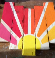 Sign of the Rising Sun pallet sign pink coral orange by SignsOf, $40.00