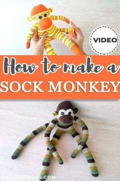 Learn how to make a sock monkey today and sew up cute gifts for Christmas! Get the free sock monkey pattern and follow the video tutorial to make the cute critter in less than an hour! Make your kids happy and watch them play for hours on end  #sockmonkey #sockmonkeypattern Sewing Tutorials, Sewing Patterns, Sock Monkey Pattern, Monkey Puppet, Ladder Stitch, Blog Names, Blanket Stitch, Free Sewing, Cute Gifts