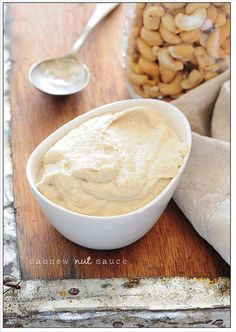 Cashew 'nut sauce' - super versatile and can be used pretty much anywhere you'd use hummus. It's especially good with steamed green veg or with fish Top Recipes, Sauce Recipes, Vegan Recipes, Cashew Sauce, Hummus Sauce, Cooking Sauces, Stone Soup, Homemade Sauce, Pasta