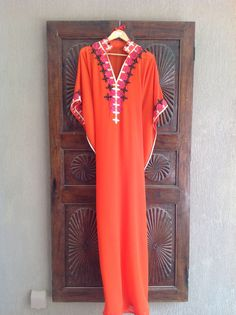 Sheer orange caftan long tunic dress beach wear by ArabianThreads, $190.00