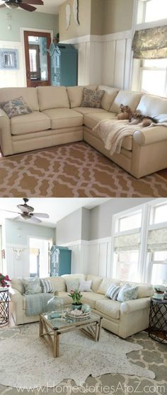 Change in paint color to @SherwinWilliams Dorian Gray in bottom pic. Great family room refresh. Click to see the gallery wall in the room. #swpaintingweek
